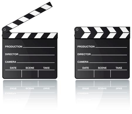 Film klepel bord instellen met reflectie op witte achtergrond  Vector Illustratie