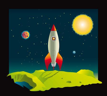 superficie: Cohetes espaciales visitando un espacio profundo en planeta