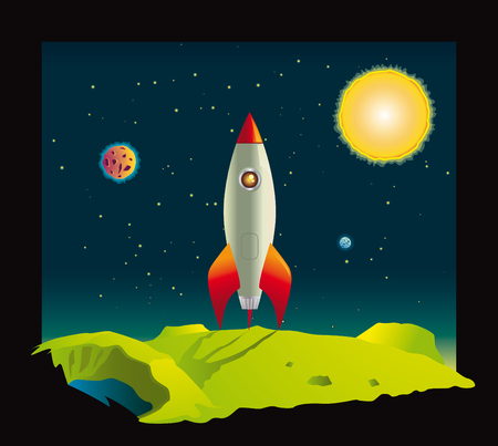 travel star: Space rocket visiting a planet deep in space