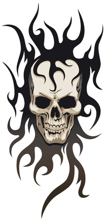 skull tattoo: Skull tribal tattoo Illustration