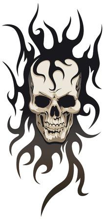 Skull tribal tattoo Illustration