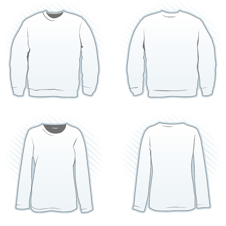 Sweatshirt design template set male and female, front and back view