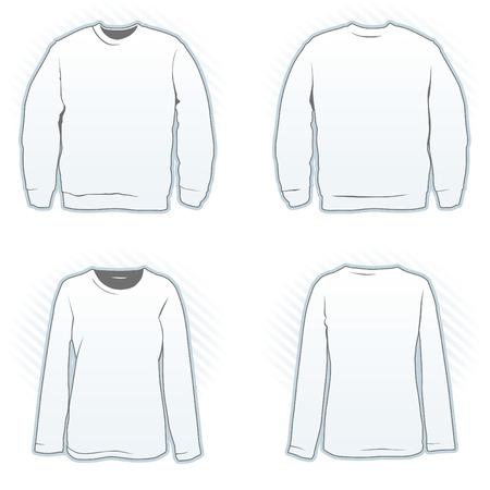 sweatshirt: Sweatshirt-Entwurfsvorlage festgelegt, m�nnlich und weiblich, anzeigen, Vorder- und R�ckseite