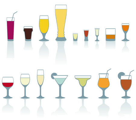 Set of cold drink glasses on white background