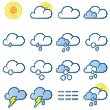 kropla deszczu: Prognoza pogody ikony ustaw na białym tle
