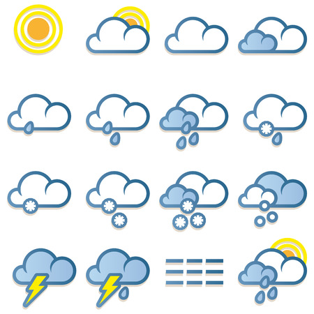 Weather forecast icons set on white background