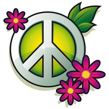 simbolo de la paz: Signo de la paz con flores rosas aislado Vectores