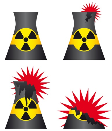 Nuclear power plant meltdown icons Vector