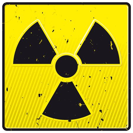 Grunge nuclear power symbol on yellow tile Stock Vector - 9250811