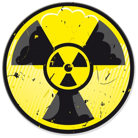 atomic symbol: Grunge nuclear power sign