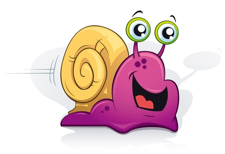 Happy purple snail on white background - vector