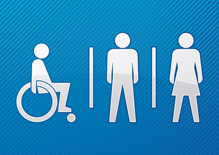 wheelchair access: Abstract toilet sign with blue background - vector  Illustration