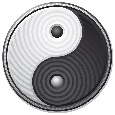 Yin Yang black symbol isolated on white background - vector  Stock Vector - 9541993