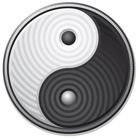 Yin Yang black symbol isolated on white background - vector  Illustration