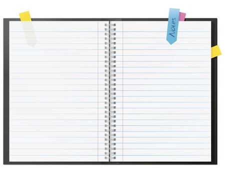 Libro abierto nota en blanco con algunos stickies aislado