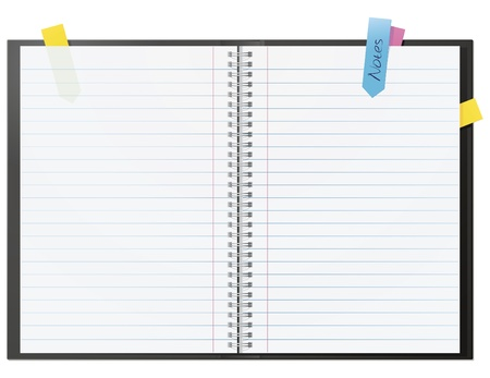 notebook page: Open blank note book with some stickies isolated