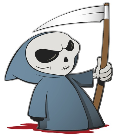 Grim reaper cartoon character isolated