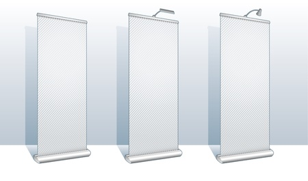 banner stand: Roll up banner display set for design and presentation purposes