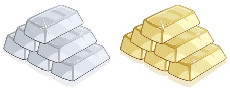 ingot: Piles of gold and silver bars isolated