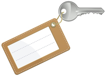steel door: Key with blank text label isolated on white background - vector