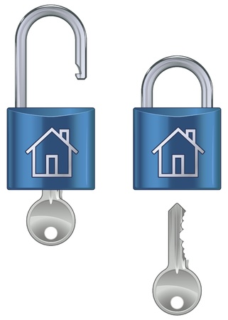 Locked and unlocked housing marked pad lock with key isolated