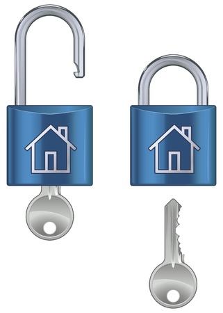 pad lock: Locked and unlocked housing marked pad lock with key isolated