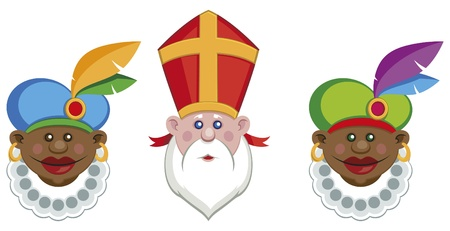 Portraits of Sinterklaas and his colorful helpers isolated Vector