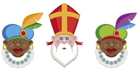 sinterklaas: Portraits von Sinterklaas und seine Helfer bunte isoliert