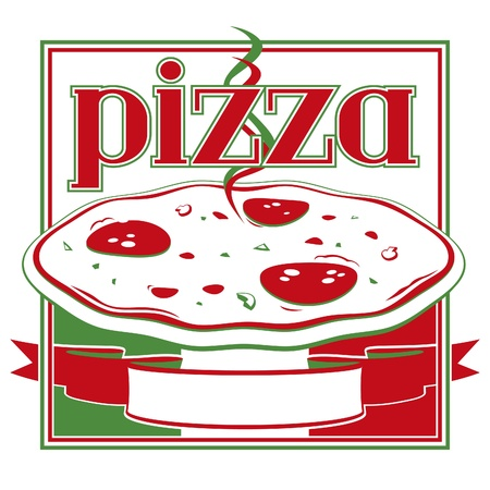 Italian red and green pizza box cover design template - Vector  Illustration
