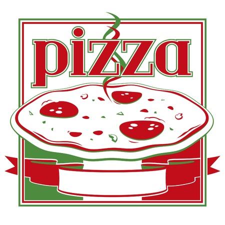 pizza box: Rojo italiano y pizza cubierta de la caja verde plantilla de dise�o - Vector