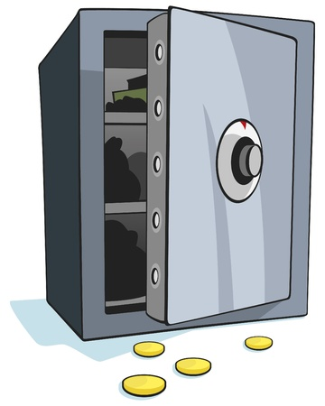 Open bank safe on white background - Vector Illustration