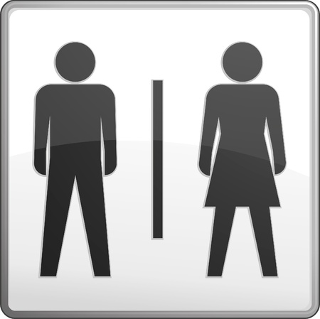 public restroom: Male and female toilet sign - vector  Illustration