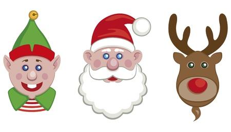 Portraits of Santa, helper elf and reindeer isolated Illustration