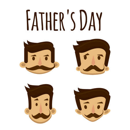 Head of man with mustaches in different proportions with respect to the day of the parents. Stock Illustratie