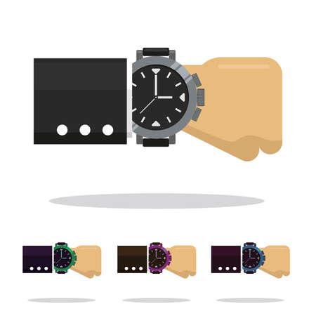 Arm with clock of different colors on the dress custom doll vector illustration. Ilustração