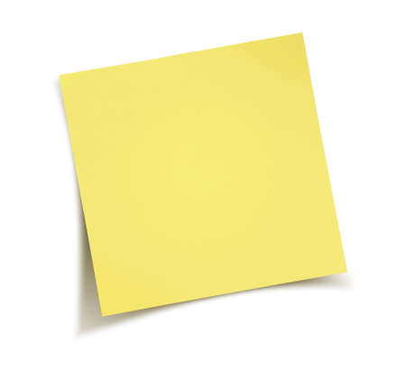 office note: Yellow note paper isolated on white background
