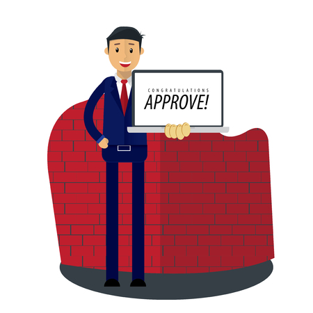 Businessman Vector Illustration. Businessman receive approval business