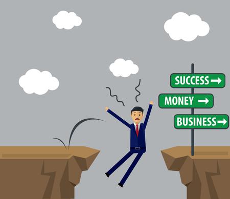 Businessman Cartoon failed and fall.