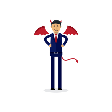 devil businessman office workers characters. Good and bad. Vector flat cartoon illustration
