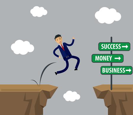 Zakenman sprong naar succes. Stock Illustratie
