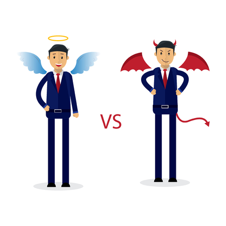 Angel and devil businessman office workers characters. Good and bad. Vector flat cartoon illustration