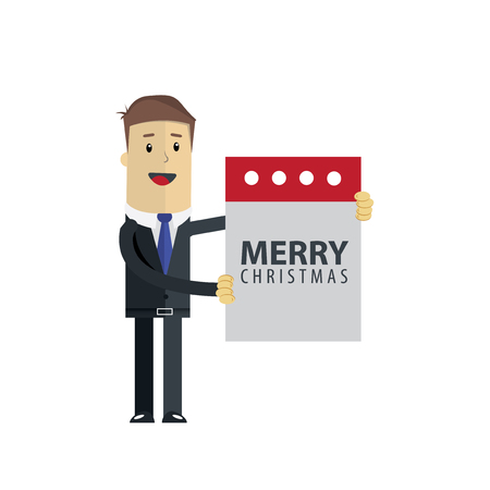 Businessman holding a paper with Merry Christmas vector