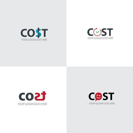 Cost Design Logo on white and gray background, Vector illustration. Stock Illustratie