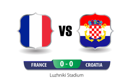 France vs Croatia Football Scoreboard. Final world cup 2018. Vettoriali
