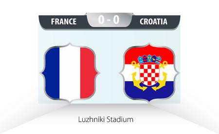 France vs Croatia Football Scoreboard. Final world cup 2018. Illustration
