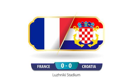 France vs Croatia Football Scoreboard. Final world cup 2018. 向量圖像