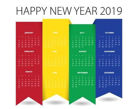 2019 Calendar Design for print or background