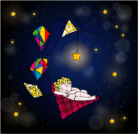 Baby sleeping on The Moon. Good night my little baby Vector illustration for gift-cards and wondeful designes Illustration