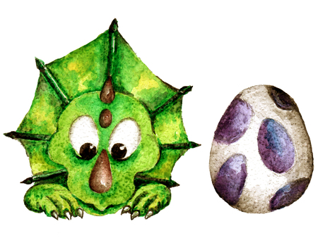 Cute Little Watercolor Dinos hand painted illustration Stock Illustration - 107321197