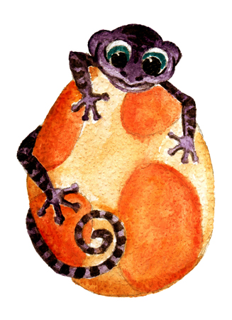 Cute Little Watercolor Dinos hand painted illustration Stock Illustration - 107321199